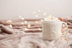Καυτή σοκολάτα με marshmallows στο μαλακό υπόβαθρο καρό με το CH Στοκ εικόνες με δικαίωμα ελεύθερης χρήσης