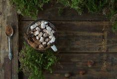 Καυτή σοκολάτα Χριστουγέννων με marshmallows και τα καρύδια σε ένα ξύλινο υπόβαθρο με το βρύο, τοπ άποψη Στοκ Εικόνες