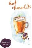 Καυτή σοκολάτα Watercolor διανυσματική απεικόνιση