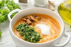 Καυτή σούπα κολοκύθας με το καρύκευμα στοκ εικόνες