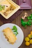 Καυτή σούπα με κρέας με το juicy κοτόπουλο, τα μανιτάρια, τη σάλτσα κρέμας και το τυρί Ορεκτικό κρέατος Ξύλινη ανασκόπηση Τοπ όψη Στοκ Εικόνα