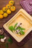 Καυτή σούπα με κρέας με το juicy κοτόπουλο, τα μανιτάρια, τη σάλτσα κρέμας και το τυρί Ορεκτικό κρέατος Ξύλινη ανασκόπηση Τοπ όψη Στοκ Εικόνες