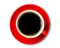 Καυτή τοπ άποψη φλυτζανιών καφέ που απομονώνεται στο άσπρο υπόβαθρο E στοκ φωτογραφία