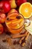 Καυτός θερμαμένος μηλίτης μήλων με την κανέλα, τα γαρίφαλα, το γλυκάνισο και το πορτοκάλι Στοκ Εικόνες