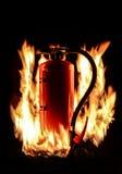 Καυτός καίγοντας πυροσβεστήρας Στοκ Εικόνες
