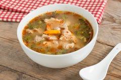 Καυτός και πικάντικος χόνδρος χοιρινού κρέατος σούπας με το ταϊλανδικό χορτάρι Στοκ φωτογραφίες με δικαίωμα ελεύθερης χρήσης