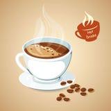 Καυτός καφές με το φασόλι καφέ απεικόνιση αποθεμάτων