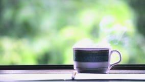 Καυτός καφές στον πίνακα του θολωμένου πράσινου τοπίου φύλλων με το φως του ήλιου στο υπόβαθρο φύσης απόθεμα βίντεο