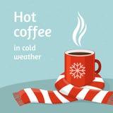 Καυτός καφές στο κόκκινο φλυτζάνι Φλιτζάνι του καφέ που επιδένεται στο μαντίλι Χειμώνας απεικόνιση αποθεμάτων