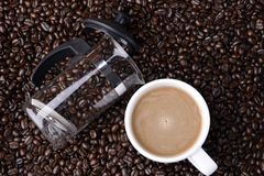 Καυτός καφές στο φασόλι Στοκ Φωτογραφίες
