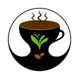 Καυτός καφές στο φλυτζάνι με τον ατμό Ετικέτα καφέ, διακριτικό, έμβλημα απεικόνιση αποθεμάτων