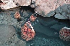 Καυτό ελατήριο πάρα πολύ καυτό για να βράσουν το σύνολο καλαθιών αυγών των αυγών στοκ εικόνες