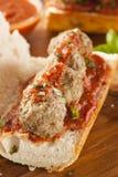 Καυτό και σπιτικό πικάντικο υπο- σάντουιτς κεφτών στοκ φωτογραφία