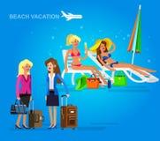 Καυτό κορίτσι σε μια παραλία επίσης corel σύρετε το διάνυσμα απεικόνισης Στοκ εικόνες με δικαίωμα ελεύθερης χρήσης