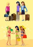 Καυτό κορίτσι σε μια παραλία επίσης corel σύρετε το διάνυσμα απεικόνισης Στοκ Εικόνες