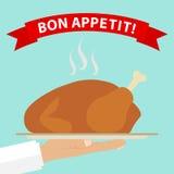 Καυτό κοτόπουλο σε ένα πιάτο διανυσματική απεικόνιση