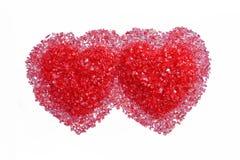 καυτό κόκκινο δύο καρδιών Στοκ Εικόνες