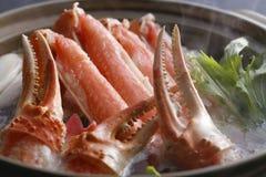 Καυτό δοχείο των νυχιών και των ποδιών καβουριών μεγάλο stew με τα χορτάρια στο ασιατικό ρ Στοκ Εικόνες