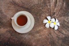 Καυτό πράσινο τσάι με το άσπρο plumeria στο ξύλινο υπόβαθρο Στοκ φωτογραφία με δικαίωμα ελεύθερης χρήσης