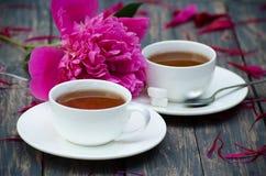 Καυτό τσάι και peony πέταλα στο σκοτάδι Στοκ φωτογραφία με δικαίωμα ελεύθερης χρήσης