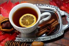 Καυτό τσάι με το λεμόνι τα βράδια φθινοπώρου και χειμώνα - ένας εορταστικός πίνακας στοκ φωτογραφίες με δικαίωμα ελεύθερης χρήσης