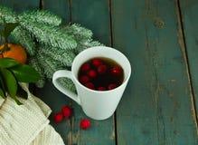 Καυτό τσάι Χριστουγέννων με τα μούρα κραταίγου Στοκ εικόνες με δικαίωμα ελεύθερης χρήσης