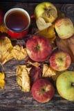 Καυτό φλυτζάνι τσαγιού μια ημέρα φθινοπώρου Επιτραπέζιο υπόβαθρο με τα φύλλα και το α Στοκ Φωτογραφία