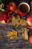 Καυτό φλυτζάνι τσαγιού μια ημέρα φθινοπώρου Επιτραπέζιο υπόβαθρο με τα φύλλα και το α Στοκ Εικόνα