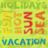 Καυτό χρώμα θάλασσας ήλιων διασκέδασης διακοπών διακοπών καλοκαιριού διανυσματική απεικόνιση