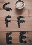 Καφές λέξης από τα φασόλια Στοκ εικόνες με δικαίωμα ελεύθερης χρήσης