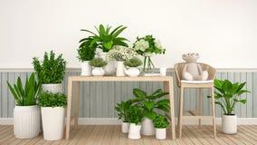 Καφές ή καθιστικό και εσωτερικός κήπος - τρισδιάστατη απεικόνιση ελεύθερη απεικόνιση δικαιώματος