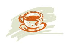 Καφές ή φλυτζάνι του τσαγιού σε ένα άσπρο υπόβαθρο επίσης corel σύρετε το διάνυσμα απεικόνισης Στοκ φωτογραφία με δικαίωμα ελεύθερης χρήσης