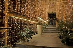 Καφές Ιωάννινα Ελλάδα οδών νύχτας Χριστουγέννων Στοκ φωτογραφία με δικαίωμα ελεύθερης χρήσης