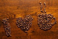 καφές ι αγάπη επιγραφής Στοκ φωτογραφίες με δικαίωμα ελεύθερης χρήσης