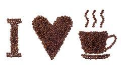 καφές ι σημάδι αγάπης Στοκ Εικόνες