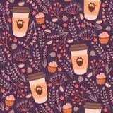 Καφές και άνευ ραφής σχέδιο λουλουδιών Στοκ Εικόνες