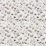 Καφές και γλυκά - άνευ ραφής υπόβαθρο Στοκ εικόνα με δικαίωμα ελεύθερης χρήσης