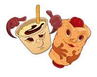 Καφές και κουλούρι με το λουκάνικο ελεύθερη απεικόνιση δικαιώματος