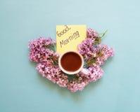 Καφές και λουλούδια στοκ εικόνες με δικαίωμα ελεύθερης χρήσης