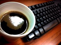 Καφές και πληκτρολόγιο Στοκ Εικόνες