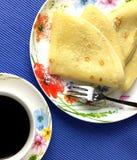 Καφές και τηγανίτες Τοπ όψη Στοκ Εικόνες