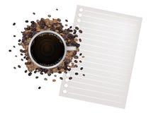 Καφές και φασόλι με ένα κενό έγγραφο Στοκ Εικόνες