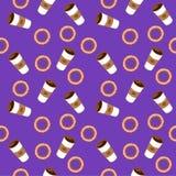 Καφές και bagels Επίπεδη απεικόνιση Στοκ Εικόνες