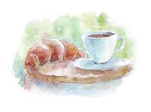 Καφές και croissant στο πιάτο Στοκ φωτογραφία με δικαίωμα ελεύθερης χρήσης
