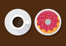 Καφές και doughnut Στοκ Φωτογραφίες
