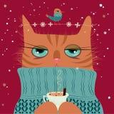 Καφές κατανάλωσης γατών με τη διανυσματική απεικόνιση πουλιών Στοκ εικόνα με δικαίωμα ελεύθερης χρήσης