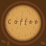 Καφές με αφρού δημιουργικό σύγχρονο διάνυσμα τέχνης απεικόνισης τοπ υποβάθρου άποψης το καφετί Στοκ Φωτογραφίες