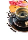 Καφές με διαμορφωμένα τα καρδιά κέικ πίνει τα τρόφιμα Αγάπη Στοκ Φωτογραφίες