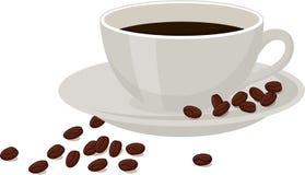 Καφές με τα φασόλια καφέ σε ένα άσπρο φλυτζάνι στο άσπρο υπόβαθρο Απεικόνιση ράστερ που απομονώνεται στο άσπρο υπόβαθρο απεικόνιση αποθεμάτων