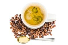 Καφές με το προστιθέμενο βούτυρο Στοκ Εικόνες